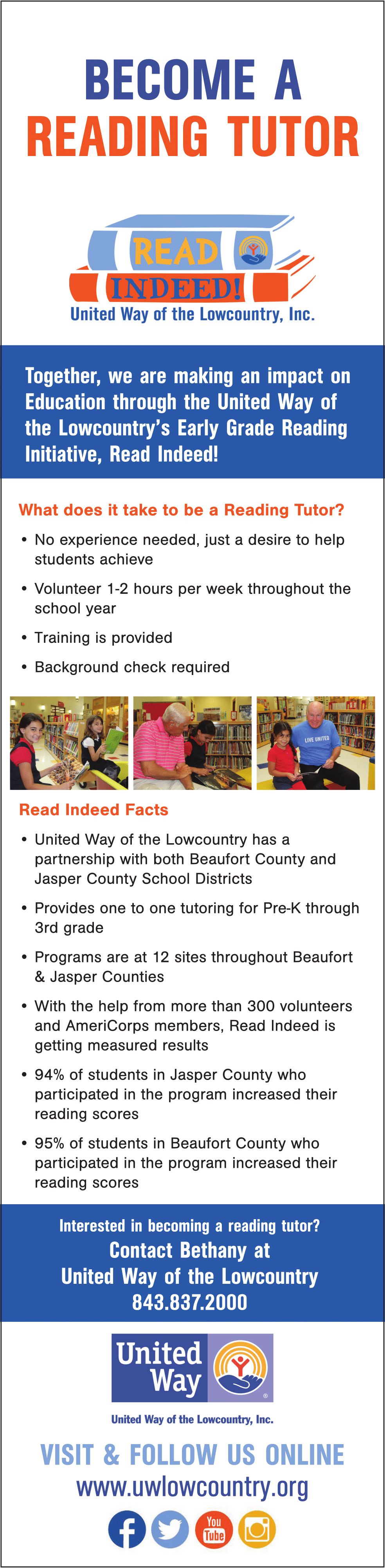 United Way of the Lowcountry | Become a Reading Tutor